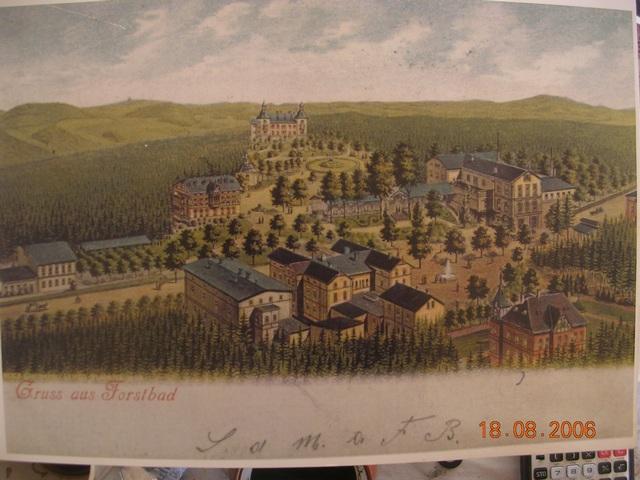 Lázně Forstbad (Fořt) koncem 19. století. Lázeňskému komplexu dominuje Marien Villa (vila Maria)