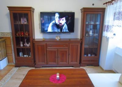 Televize s úhlopříčkou 125cm je uchycena na rameni, a je možné ji vytáhnout a natočit i směrem ke kuchyni. Nad televizí bude umístěn ventilátor, v případě potřeby odvádějící od krbu přehřátý vzduch do sousedního pokoje.